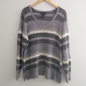 Lane Bryant Metallic Stripe sequined Sweater 18/20
